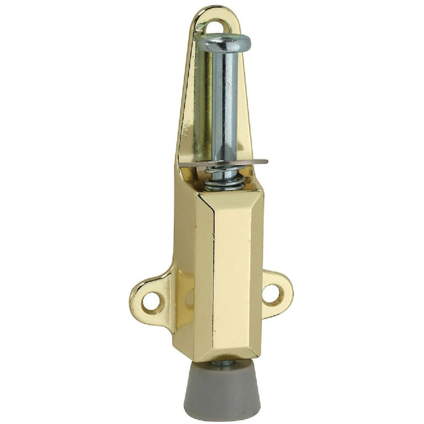 National Brass Door Stop with Lock Image 1