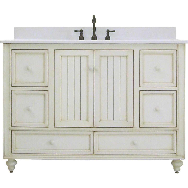 Sunny Wood Bristol Beach White 48 In. W x 34 In. H x 21 In. D Vanity Base, 2 Door/6 Drawer Image 1